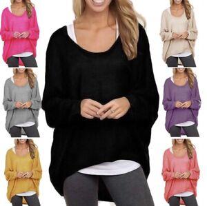Women Loose Solid Irregular Long Sleeve Baggy Jumper Casual Tops Blouse T-Shirt