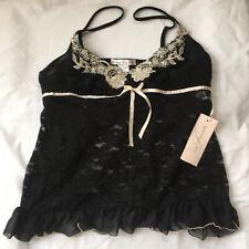 Linea Donatella Lace Sequins Babydoll Chemise Black Size M Medium NWT