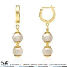 14k Yellow Gold Freshwater Genuine Pearl Huggie Hoop Dangle Earrings