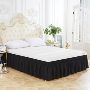 Three Sides Twin Queen Hotel Elastic Ruffles Dustproof Home Decoration Bed Skirt