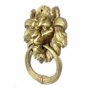 Lion Head Door Knocker Vintage Brass Casting Gate Ring Handle Pulls Knobs Decors