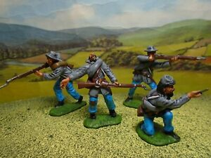 Superbly painted CTS 1/32 scale ACW Confederate Infantry x4 (grey) (Set 2)