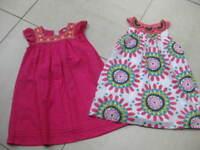 2x Girls party summer DRESS M&S INDIGO COLLECTION GAP 4 5 6 years pink cotton