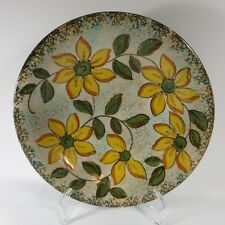"""Vtg Gouda Zuid Holland Pottery Charger Plate Shallow Bowl MINT Yellow Floral 11"""""""