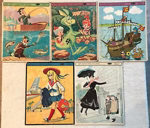 """1960's 5 Vtg 14"""" x 11"""" CHILDREN Frame Puzzles Whitman Mary Poppins Chatty Yogi +"""