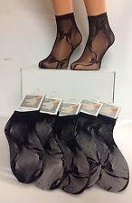 6 PAIR Lace Ankle Short Sock Black Fit 3-6 shoe FREE p/p & FREE wrist cuffs