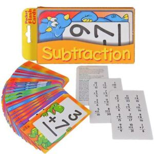 SUBTRACTION New Pocket Flash Cards 56pk Maths Kids Pack Children Learn See n Say