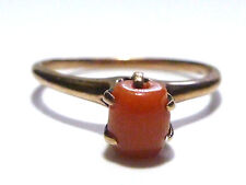 ANTIQUE VICTORIAN 10K  YELLOW GOLD OLD CORAL WOMENS RING BAND SIZE 7.35