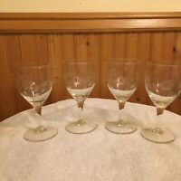 Set of 4 Tall Clear Glass Wine Water Glasses Etched Flowers