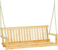 Patio Swing Bench, Wood HangingChairOutdoor Wooden Furniture Porch Seat-