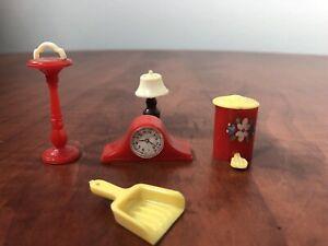 VINTAGE RENWAL Lot, CLOCK #14, ASHTRAY #13, GARBAGE #64, LAMP #L71, & DUST PAN