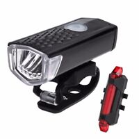 USB LED Rechargeable Bike Bicycle Cycling Front Rear Tail Light Headlight Lamp C