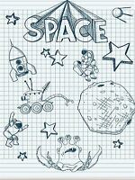 ART PRINT POSTER PAINTING DRAWING DRAWING COLLAGE SPACE ALIEN THEME LFMP1021