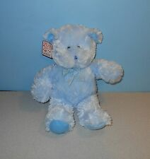 "14"" Chenille Soft Powder Blue Teddy Bear Bean Plush w/ Ribbonby Aerial Bouquets"