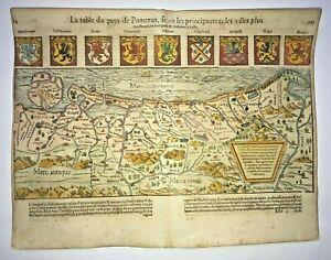POLAND POMERANIA 1568 SEBASTIAN MUNSTER LARGE UNUSUAL ANTIQUE MAP 16TH CENTURY