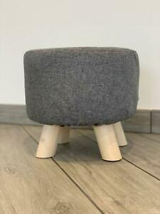 Grey Footstool Kids Nursery Playroom Cute Seat Strong Durable Wooden Legs