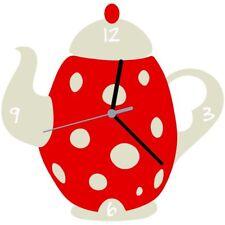 Euphyllia Tempus Tea Pot Kitchen Wall Clock Red White E9551redw