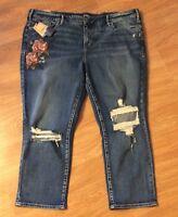 Silver Jeans Co. Women Mazy Floral High Rise Destroyed Slim Plus Sz Capri Sz 22