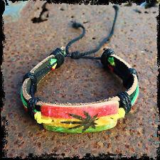 Rasta Leather Band Bracelet Wrist Rustic Weed Ganja Hippie Reggae Marley 1Sz Fit