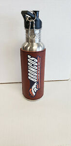"""Denver Broncos Steel Water Bottle with leather """"Football"""" wrap 26 oz. NEW"""