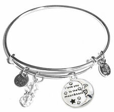 I Love you to the Moon and Back, Message Charm Expandable Bangle Bracelet!