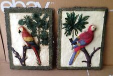 Set of 2 Parrot Sitting on Limb Resin Wall Hangings Plaques