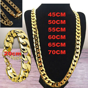 Women Men Curb Necklace Chunky Chain Pendant Gold Silver Jewellery Wedding Gift