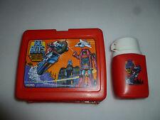 VINTAGE GO BOTS PLASTIC LUNCH BOX MIGHTY ROBOTS W THERMOS 1984 TONKA KING-SEELEY