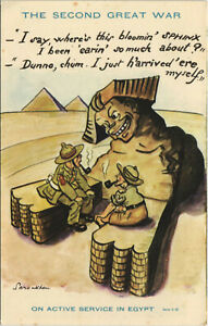 PC EGYPT, THE SECOND GREAT WAR, ON ACTIVE SERVICE, Vintage Postcard (b30708)