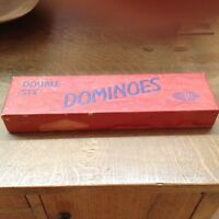 Vtg Hal-Sam Double Six Dominoes Red Box Airplane Image On Tiles