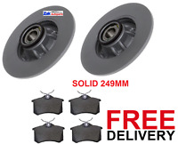 FOR PEUGEOT 308 REAR BRAKE DISCS & PADS FITTED WHEEL BEARINGS & ABS RINGS NEW
