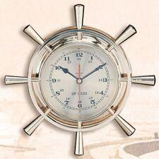 """Brass Ship's Wheel Clock, 12"""""""