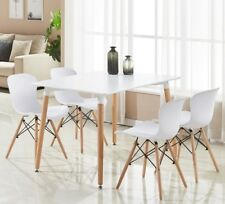 Alessia Dining Set - 4 x Ribbed Eiffel Chairs & White Halo Dining Table Wooden