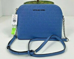 New Michael Kors Crossbody Bag Cindy French Blue Patent Leather Large Dome B2E