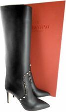 $1790 Valentino Garavani Rockstud Boots Black Leather Tall Knee  Booties 38