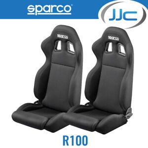 2 x Sparco R100 Reclining Racing Car Sport Bucket Seats (Pair) - Black