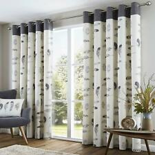 Fusion Idaho 100 Cotton Eyelet Lined Curtains Charcoal 46 X 72 Inch