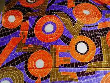 "1960-70s Lauratex Textiles LOVE fabric acetate purple orange gold 3yds 44""w"