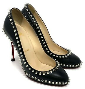 Christian Louboutin Spike Studs Leather Heels Pumps #37 US 7 Black Silver
