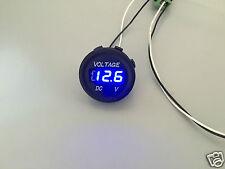 12V-24V voiture moto led affichage numérique voltmètre étanche compteur bleu uk