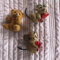 VINTAGE JOSEF Originals Fuzzy Flocked  Mouses Figurines