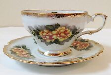 Vintage Yellow Rose China Tea Cup Japan Footed Hand Painted Scalloped MIJ Label