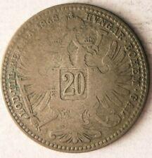 1868 AUSTRIA 20 KREUZER - Vintage Silver Coin - Lot #O16
