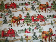 TWO HORSE SCENIC Winter, Christmas, Susan Winget Cotton Fabric,BTY,farm,barn,