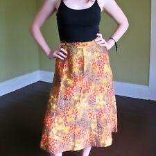 Vtg 70s Autumn Leaves Floral Dress Skirt A Line Cut High Waist Stunning Print M