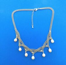 Fresh Water Lavender Pearl Dangle Necklace Fringe Style Choker Silver