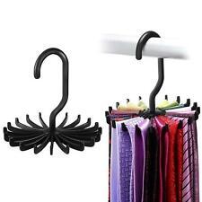2X 360° Rotating Belts Rack Ties Hanger Holder 20 Hooks Neck Tie Scarf Organizer