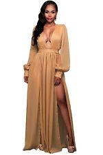 New Ladies Mocha Double Slit Long Sleeves Goddess Maxi Dress Size S, M & L