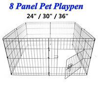 Folding 8 Panel Puppy Dog Play Pen Run Cage DIY Enclosure Whelping Playpen Metal