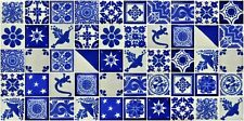 """50 2x2"""" Mexican Ceramic Tiles  Clay Blue & White Desings Mixed"""